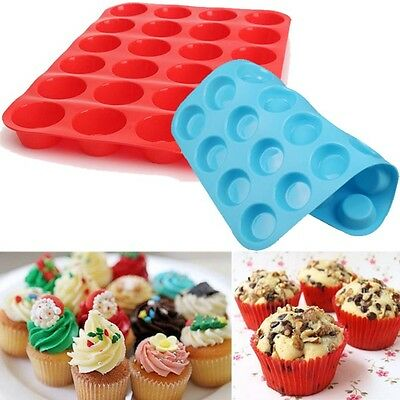 New 24 Cavity Mini Muffin Silicone Soap Cookies Cupcake Bakeware Pan Tray Mould