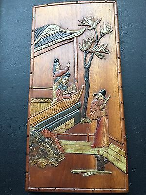 Antique 19th Century Chinese Hardwood & Carved Inlaid Soapstone Plaque Picture