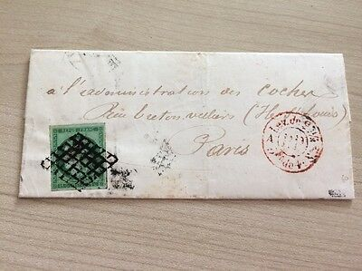 VENTE PRINTEMPS 2#LOT2: FRANCE timbre n°2 s/ lettre cachet rouge PP signé Calves