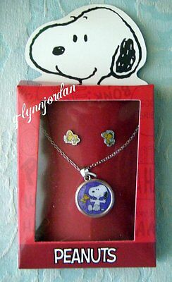 Snoppy  & Woodstock Chlid's Necklace Earring Gift Box Set Peanuts New