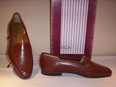 shoes low loafers vintage Sicà womens shoes leather brown n. 35