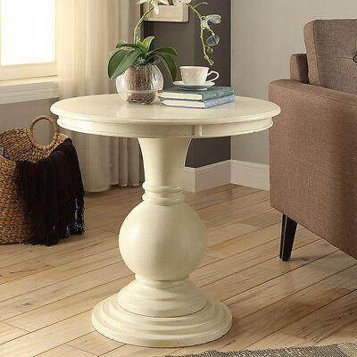 Alyx Living Wooden Round Side End Table Stand Ball Pedestal Base Antique White