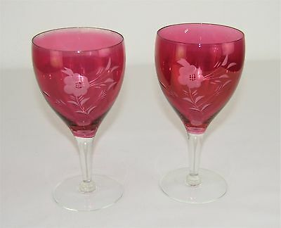 Vintage Cranberry Ruby Glass Etched Floral Design Clear Stem Pair Wine Glasses