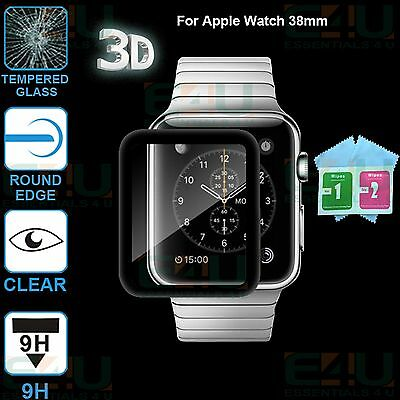 2 x 3D Black Full Cover Tempered Glass Screen Protector For Apple Watch 38mm