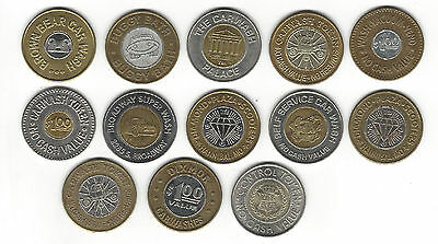 6. A Lot Of 13 Mixed Car Wash Tokens All Are Bi-Metals! Brown Bear, Broadway ++