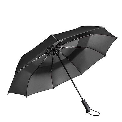 Travel Umbrella - Windproof Compact Umbrella with Double Canopy Construction - A
