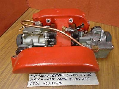 $399 US Ford Interceptor Y Block 292 312 Intake & Dual YH Side Draft Carburetors
