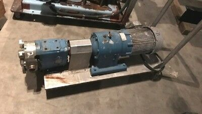 "used 1.5"" Waukesha Model 030 Rotary lobe pump on stainless steel cart w wheels"
