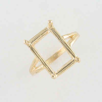 Prenotched 14X10 Emerald Cut Solitaire Ring 10K Yellow Gold Size 6.75 Cr34-10Ky