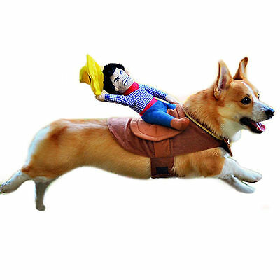 Creative Cowboy Dog Rider Christmas Costume Puppy Pet Dogs Coat Clothes Costumes