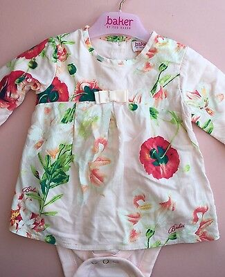 *TED BAKER* Girls Dress Top Floral (6-9 Months) Outfit Set A608