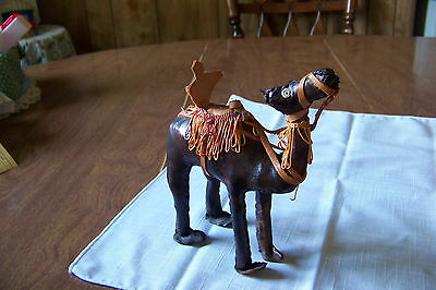 Leather Covered CAMEL Dromedary w saddle & bridle Figurine 6 1/2""