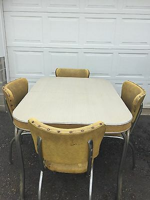 Vintage Retro Kromette Chrome and Formica Table & 4 Yellow Chairs - Estate Find