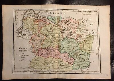RARE 1756 Grand Duchy Lithuania colored MAP Prussia Baltic George Louis le Rouge