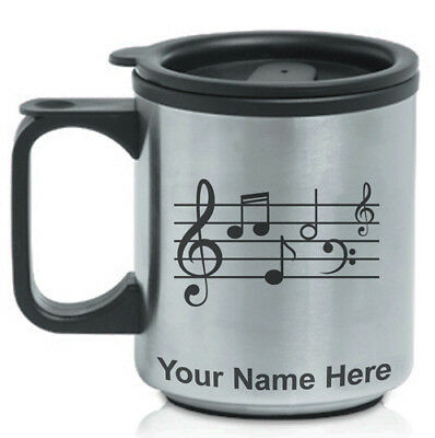 Coffee Travel Mug, Musical Notes 1 Musician, Personalized Engraving Included