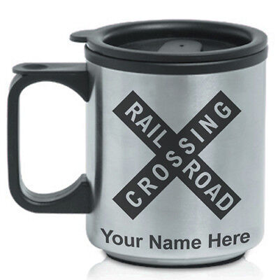 Personalized Custom Coffee Travel Mug - Railroad Crossing Sign 1