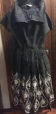 Vintage 1950s Jonathan Logan Black Embroidered Party Dress Full Skirt Size Small