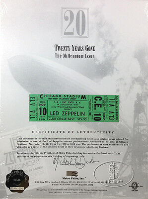 LED ZEPPELIN 1980 Unused Concert Ticket 20th Anniversary