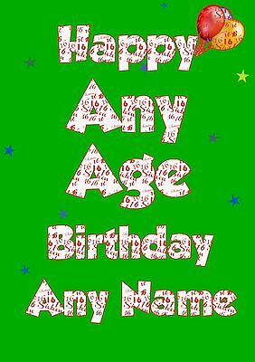 Personalised Birthday Card Any Name Age Male Boy Him Son Nephew Grandson