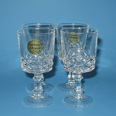 Cristal D'Arques DIAMOND Crystal Cordial Glasses Set of 4 Clear Glass