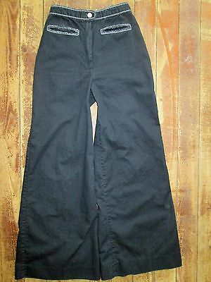 VTG Strawberry Plant Dorothy Schoelen Small Pants Hippy Bell Flare Black 23x28