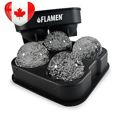 Flamen Fast Release Ice Ball Maker Tray Black Flexible Silicone Cube Ultra...