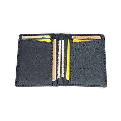 35a42c1208774 Men Real Leather Slim Thin Credit Card Holder Mini Wallet ID Case Wallet  Black