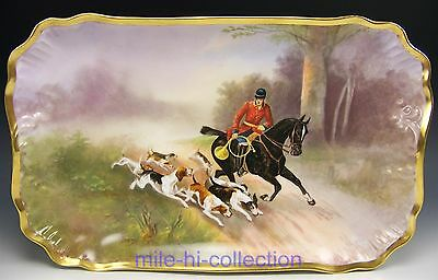 "Beautiful Rare Limoges Hand Painted Hunting Scene 15.25"" Tray Platter"
