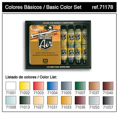 Vallejo Model Air Basic Colour 16 Colour Set Acrylic Paint Set Brand New 71178