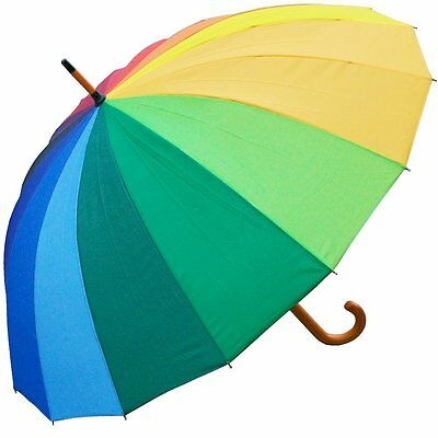 RainStoppers W022 Auto Open 16-Panel Rainbow Umbrella with Wood Hook Handle, 48-