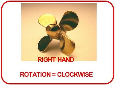 BRASS MODEL BOAT PROPELLER 25mm 4 BLADE RIGHT HAND M4 ( CLOCKWISE ROTATION )