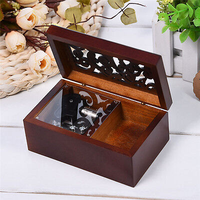 Antique Wood Miniature Hollow Music Box Wind Up Retro Wooden Jewelry Box Gifts