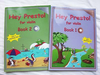 2 HEY PRESTO! FOR VIOLIN BOOKS 1 & 2 COMPLETE WITH CDs- SCROLL & ENLARGE PHOTO'S