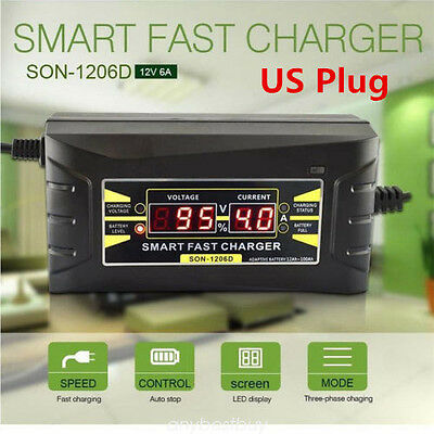 12V 6A Car Motorcycle Smart Fast Lead-acid Battery Charger LCD Display US Plug