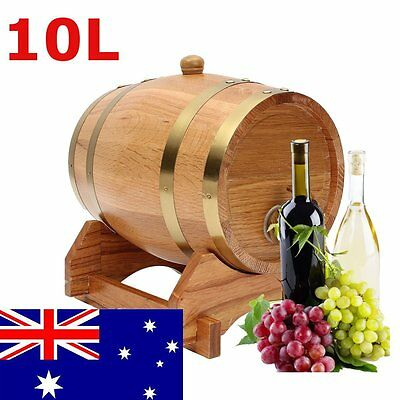 10L Oak Barrel Wine Keg Spirits Whisky Port Liquor Wood French Toasted w/ Stand
