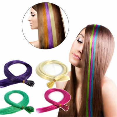 10 Bunte Fantasy Haar Strähnen Haare Microring Bonding Grizzly Hair Extensions