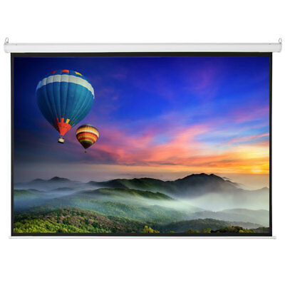 "100"" 16:9 Home Movie Manual Projection Screen Pull Down Projector Matte White"