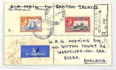 BH18 1949 GILBERT & ELLICE IS GB Essex via USA Chicago REGISTERED Airmail Cover