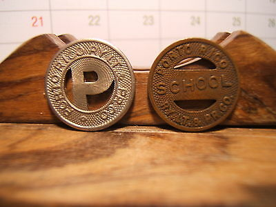 PORTO RICO RY LT & RY CO (Railroad) School &  Public Transit Tokens (2)  1930's
