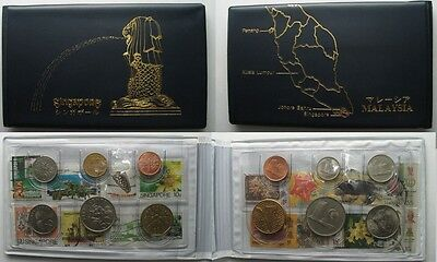 SINGAPORE / MALAYSIA Coin set 1982-1989 12 coins with stamps # 96739