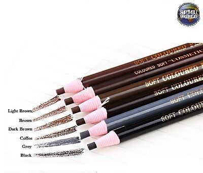 Microblading SPMU Eyebrow Pencil- Waterproof Permanent Makeup Marker- 6 Colours