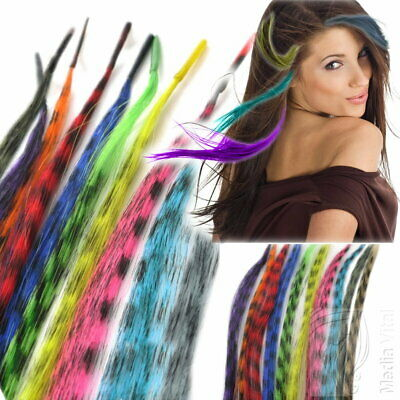10-50 Feather Hair Extensions Feder Haar Kunsthaar Grizzly Bunte Crazy Strähnen