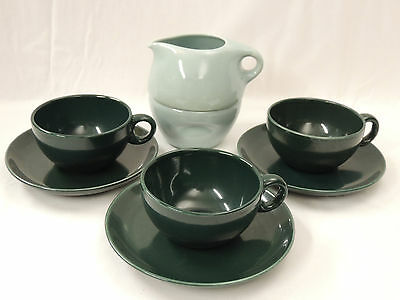 Russel Wright Iroquois Casual China Stacking Cream & Sugar + 3 Tea Cup & Saucer