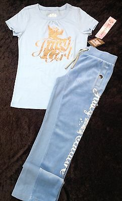 NWT Juicy Couture New Lt. Blue Velour Tracksuit Pants & T.Shirt Girls Age 8 /10