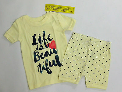 NWT Old Navy Girls Size 12-18-24 Months Yellow Life Is Beautiful Pajamas Pjs