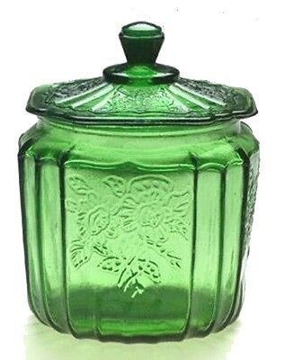 Green Depression Style Glass Mayfair Cookie Jar