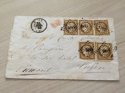 VENTE PRINTEMPS 2#LOT236: lettre affranchissement Italie timbres n°1 x5 Ceres PC