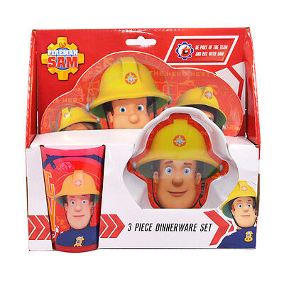 Official Licensed Product Fireman Sam 3 Pack Dinner Set Plate Bowl Cup Gift New