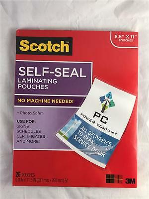 """NEW Scotch Self Seal Laminating Pouches 25 9"""" X 11.5 LS854-25G No Machine Needed"""