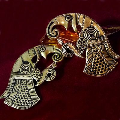 Raben Fibel 2 Broschen Raven Brooch Bronze Germanen Set